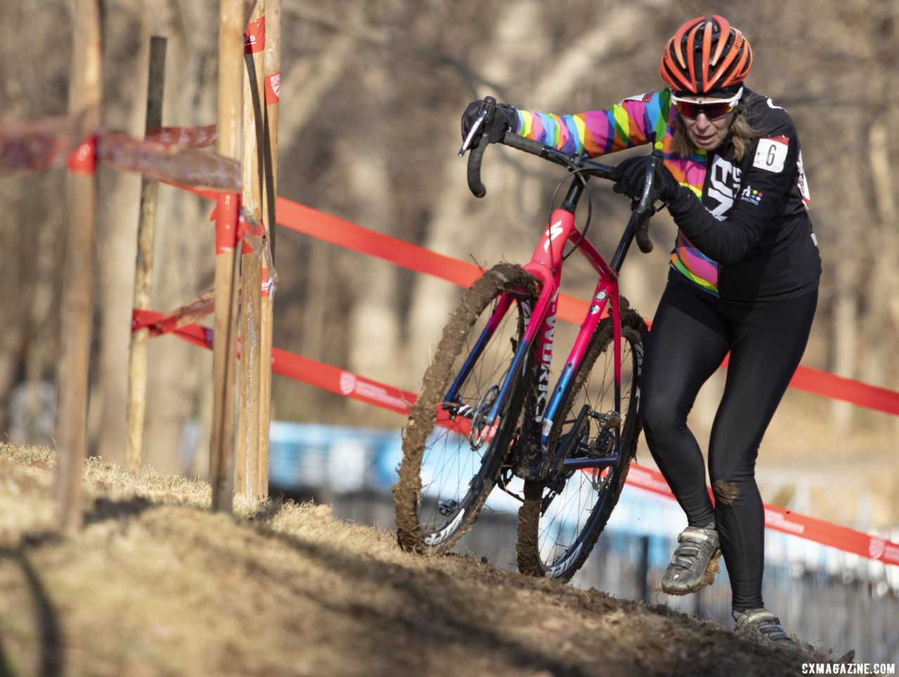 Martha Iverson moves through the off-camber. Masters Women 60-64, 65-69, 70-74, 75+. 2018 Cyclocross National Championships, Louisville, KY. © A. Yee / Cyclocross Magazine