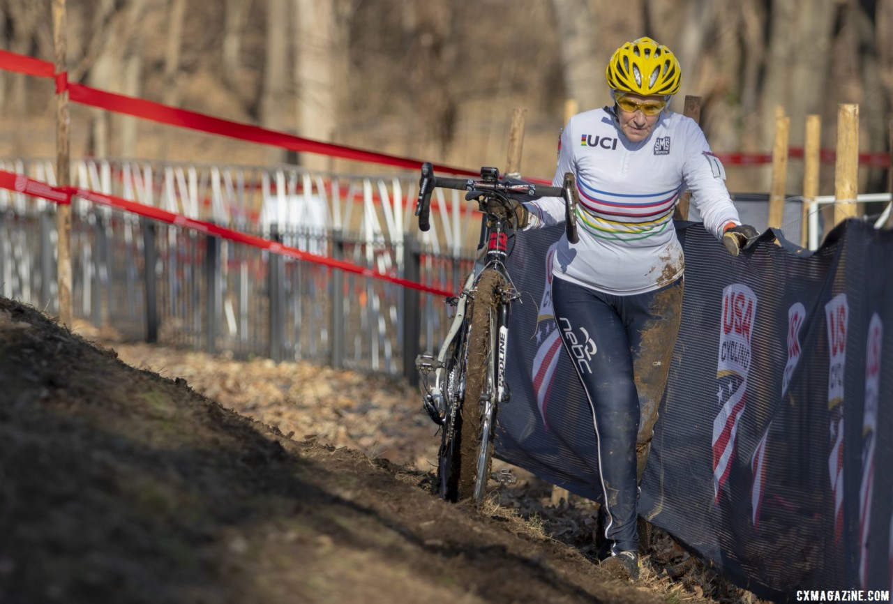Julie Lockhart tackles the off-camber. Masters Women 60-64, 65-69, 70-74, 75+. 2018 Cyclocross National Championships, Louisville, KY. © A. Yee / Cyclocross Magazine