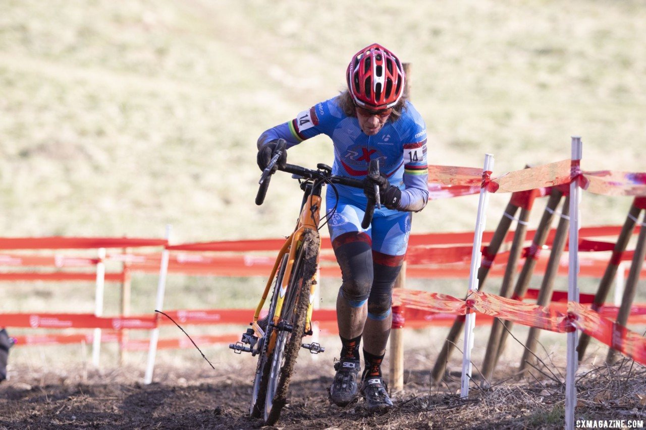 Maureen Sweeney kept things cleaner than in Reno to win the Masters 65-69 title. Masters Women 60-64, 65-69, 70-74, 75+. 2018 Cyclocross National Championships, Louisville, KY. © A. Yee / Cyclocross Magazine