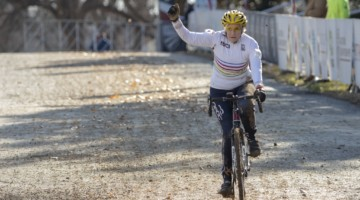 Julie Lockhart celebrates her win. Masters Women 60-64, 65-69, 70-74, 75+. 2018 Cyclocross National Championships, Louisville, KY. © A. Yee / Cyclocross Magazine