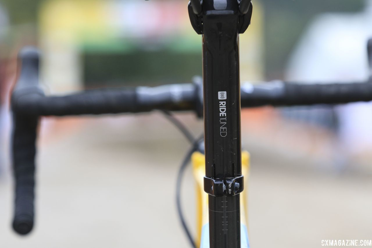 The Boone requires a special Bontrager seat mast cap to integrate with the rear IsoSpeed decoupler. Toon Aerts' 2018 Trek Boone Cyclocross Bike. © D. Mable / Cyclocross Magazine