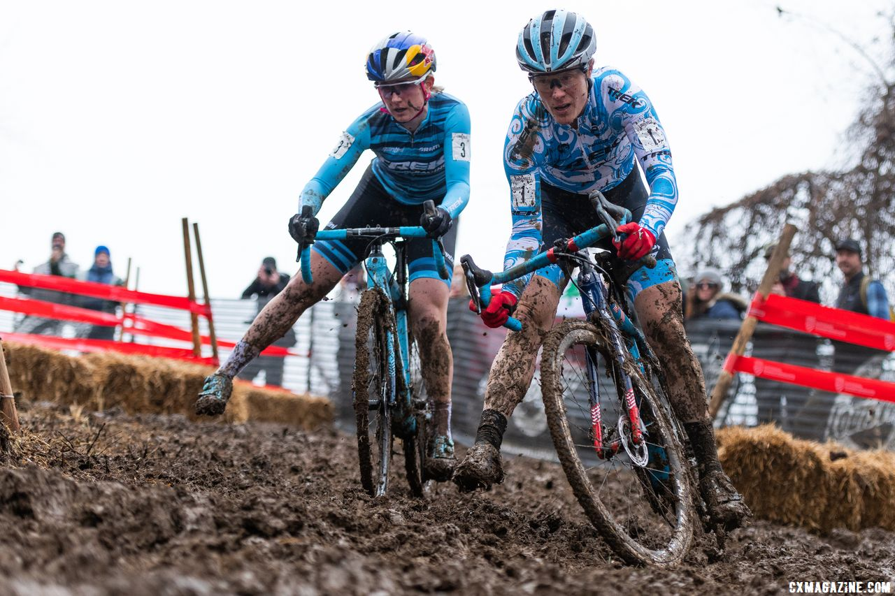For the second straight year, Katie Compton used an aggressive downhill turn to get by Noble and ride to the National Championship, but in Louisville, it came on lap one. 2018 Cyclocross National Championships, Louisville, KY. © D. Smaic / Cyclocross Magazine