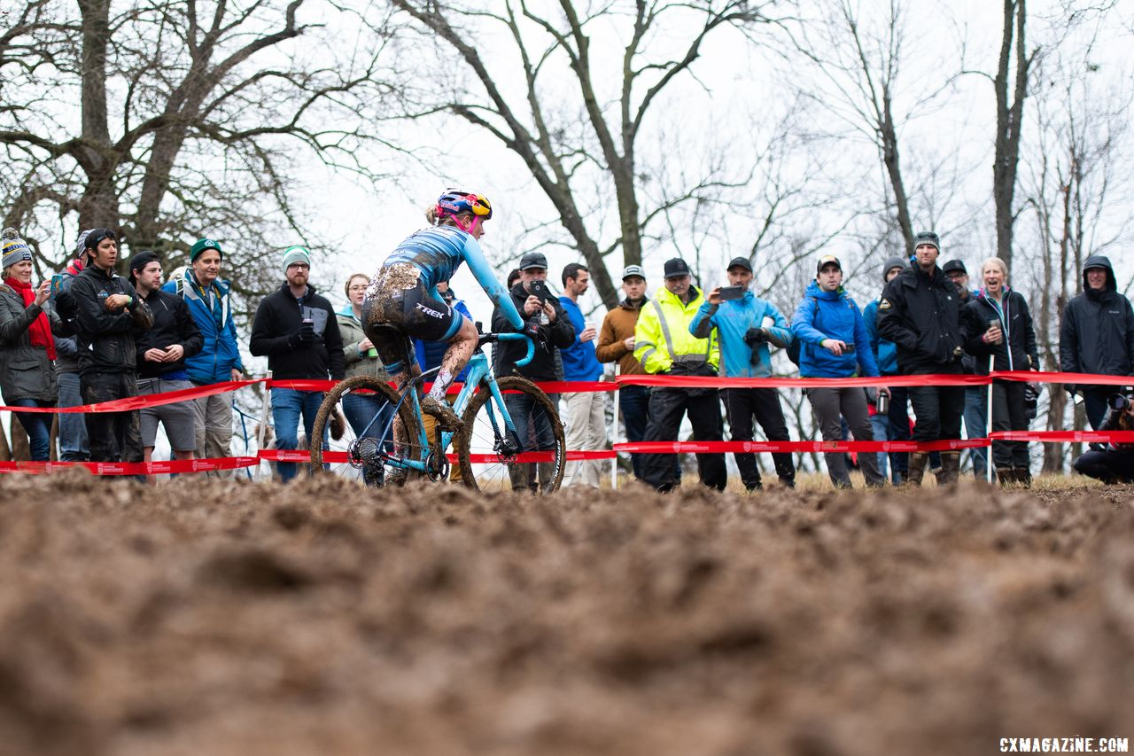 Noble raced to her second-straight Elite Women's podium. 2018 Cyclocross National Championships, Louisville, KY. © D. Smaic / Cyclocross Magazine