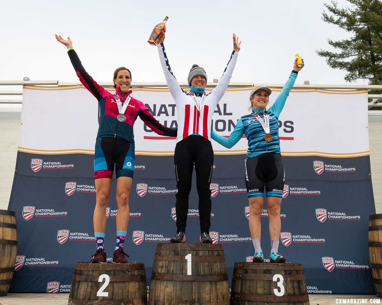 Gilbert, Compton and Noble. 2018 Cyclocross National Championships, Louisville, KY. © D. Smaic / Cyclocross Magazine