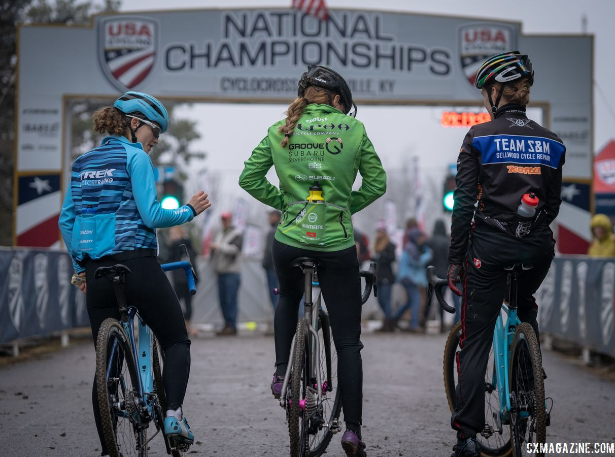 The first three U23 Women call-ups: Emma Swartz, Katie Clouse and Clara Honsinger. 2018 Louisville Cyclocross Nationals, Saturday and Sunday. © Drew Coleman