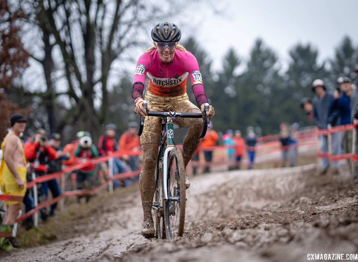 Kristen Legan's getup was quite glamorous during the Singlespeed race at Louisville Nationals. 2018 Louisville Cyclocross Nationals, Saturday and Sunday. © Drew Coleman