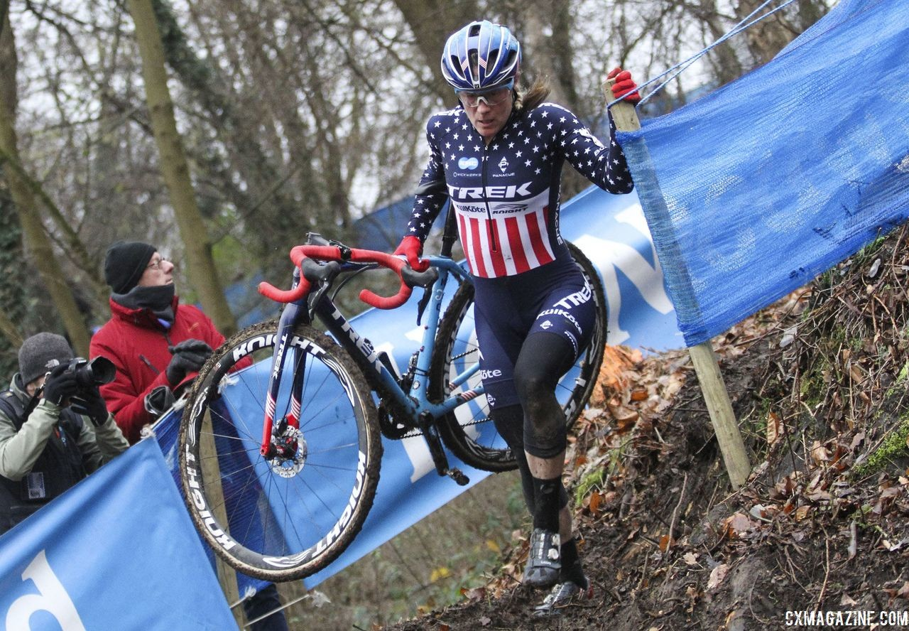 The first half of the course had a number of technical corners and off-cambers. Running was often quicker than riding. .2019 Brussels Universities Cyclocross. © B. Hazen / Cyclocross Magazine