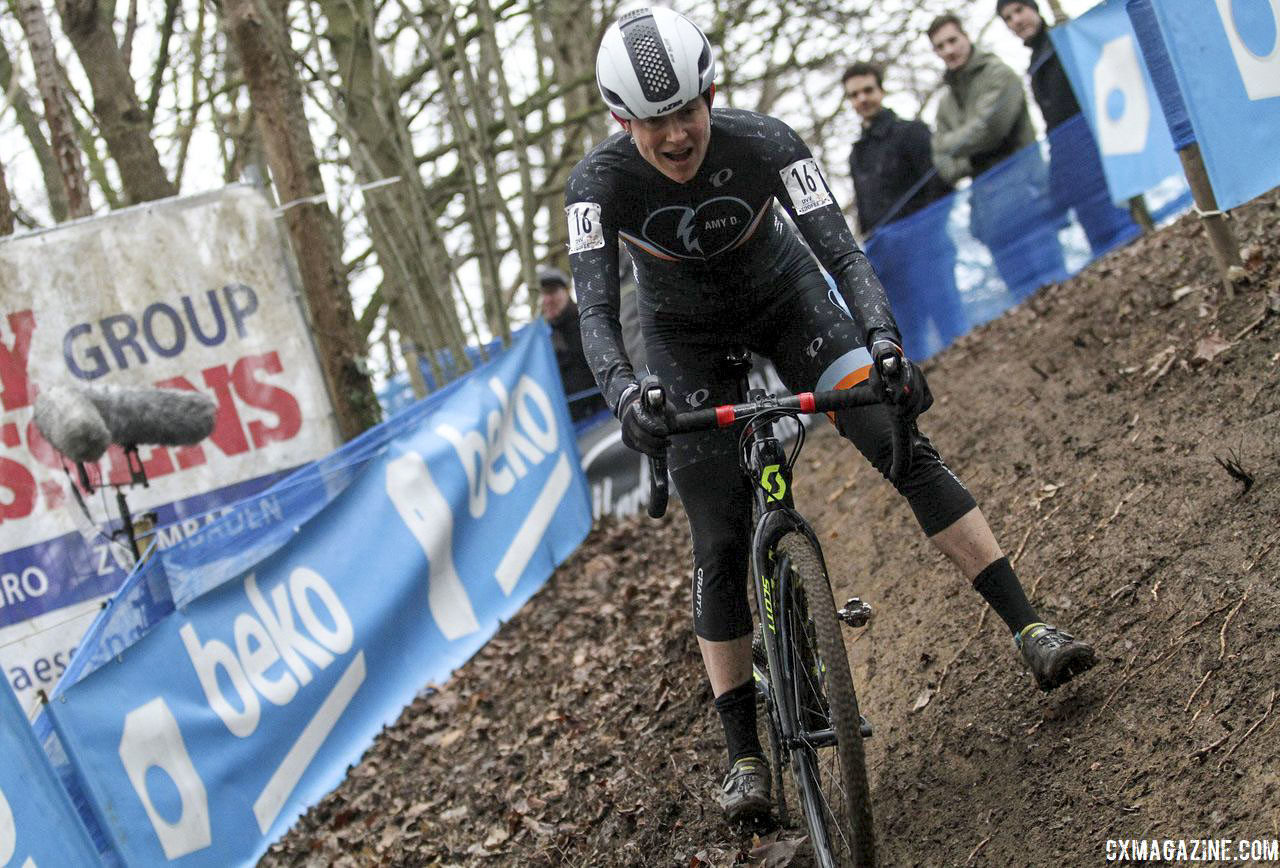 Corey Coogan Cisek continued her cyclocross apprenticeship on campus. 2019 Brussels Universities Cyclocross. © B. Hazen / Cyclocross Magazine