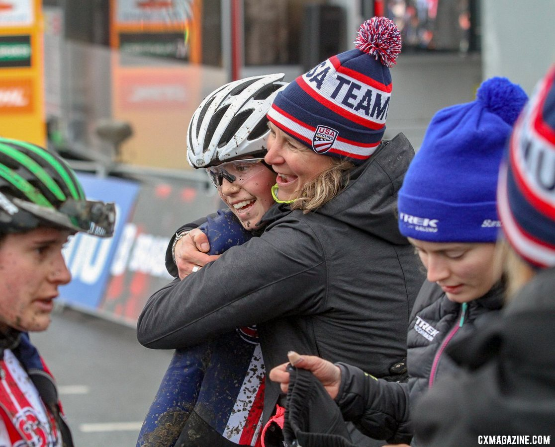 Meredith Miller celebrates Munro's ride. Elite Women. 2019 Hoogerheide World Cup, GP Adri van der Poel. © B. Hazen / Cyclocross Magazine