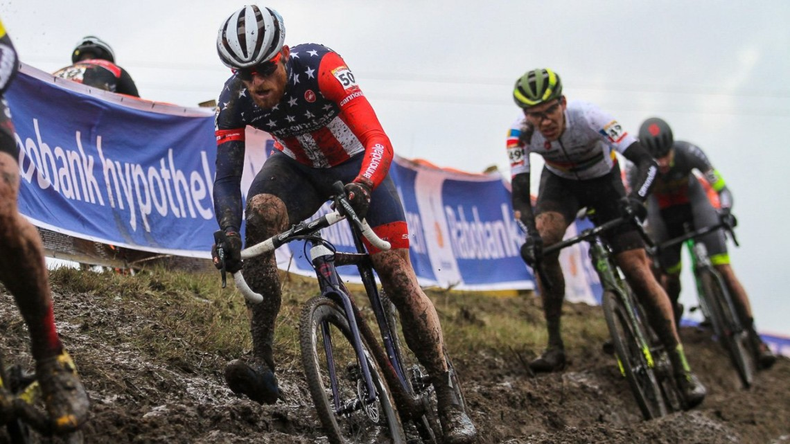 Hyde and White navigate the rutted off-cambers. Elite Men, 2019 Hoogerheide UCI Cyclocross World Cup. © B. Hazen / Cyclocross Magazine