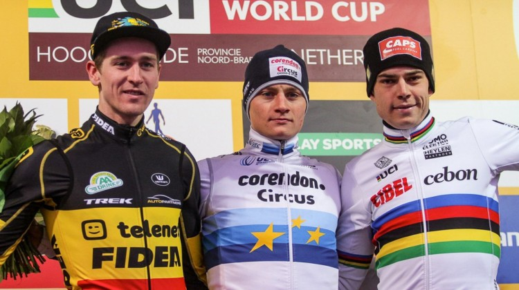 Aerts, Van der Poel, Van Aert. Elite Men, 2019 Hoogerheide UCI Cyclocross World Cup. © B. Hazen / Cyclocross Magazine