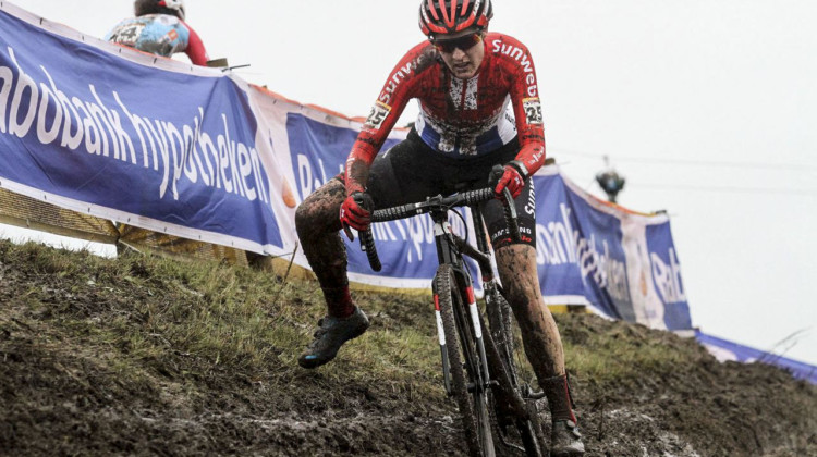 Brand powered to the front and rode the technical features well to get a big lead. 2019 World Cup Hoogerheide. © B. Hazen / Cyclocross Magazine
