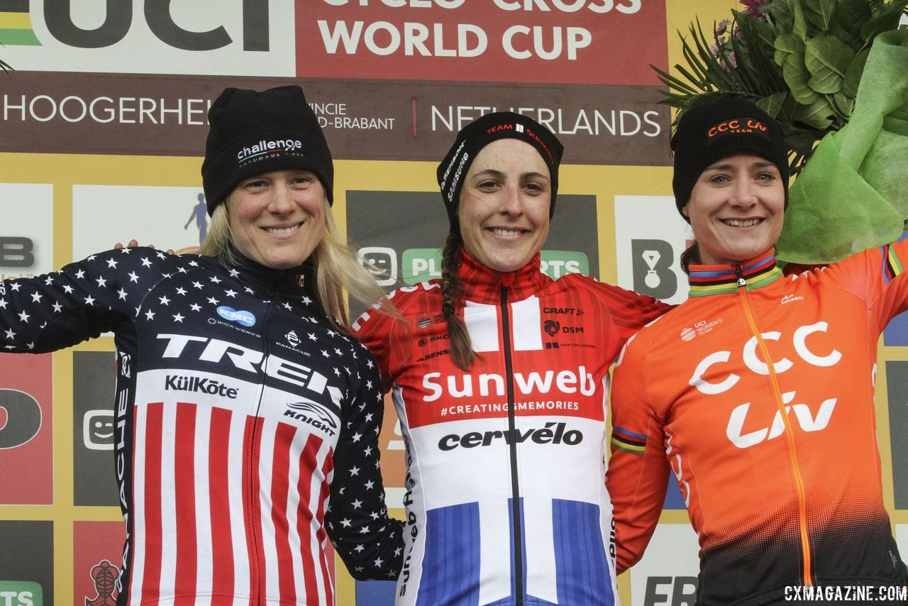 Elite Women's podium: Lucinda Brand, Katie Compton and Marianne Vos. 2019 World Cup Hoogerheide. © B. Hazen / Cyclocross Magazine