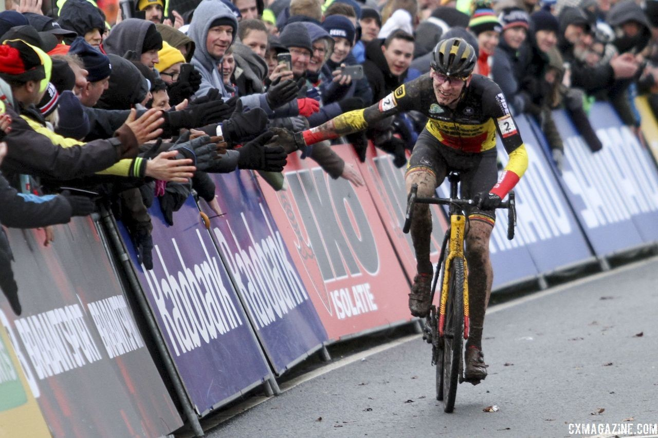 Aerts celebrates his second and World Cup overall win with the Dutch fans. 2019 World Cup Hoogerheide. © B. Hazen / Cyclocross Magazine