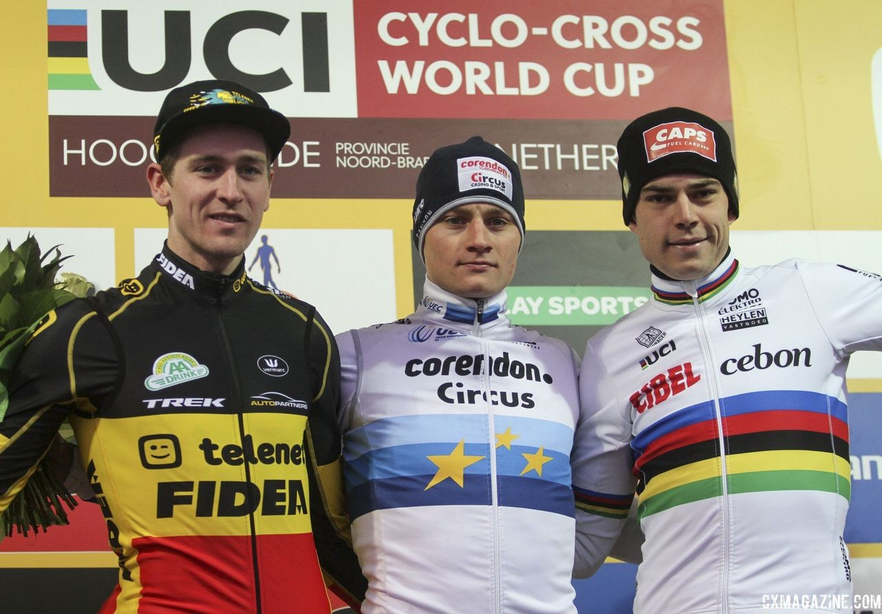 Elite Men's podium: Mathieu van der Poel, Toon Aerts and Wout van Aert. 2019 World Cup Hoogerheide. © B. Hazen / Cyclocross Magazine