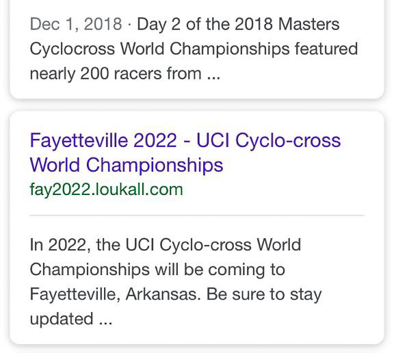 News of Cyclocross Worlds coming to Fayetteville in 2022 accidentally went public a little early.