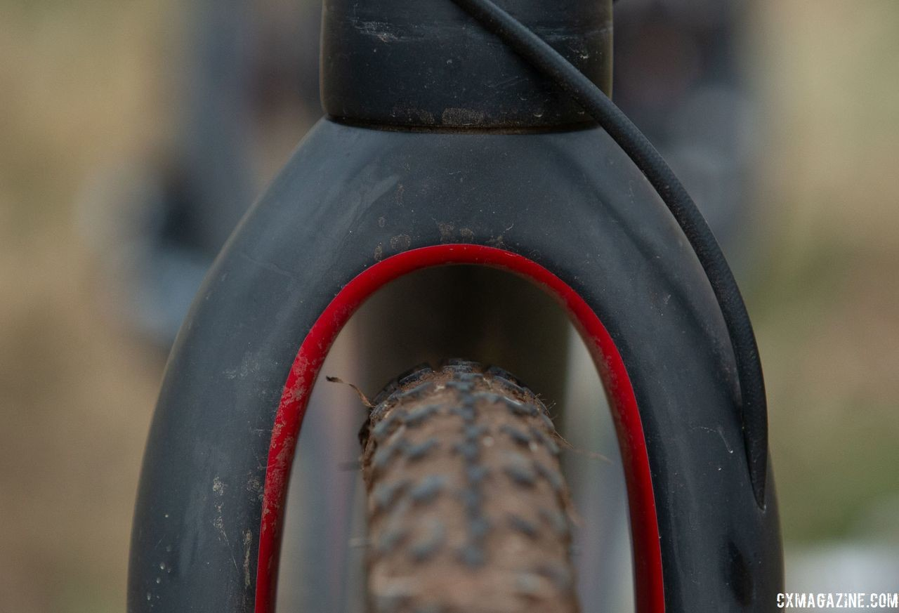 The fork of the Full Tilt Boogie had plenty of clearance for LaVesser's 700c x 33mm PDXes. Holly LaVesser's Masters 35-39 title-winning Van Dessel Full Tilt Boogie. 2018 Cyclocross National Championships, Louisville, KY. © A. Yee / Cyclocross Magazine