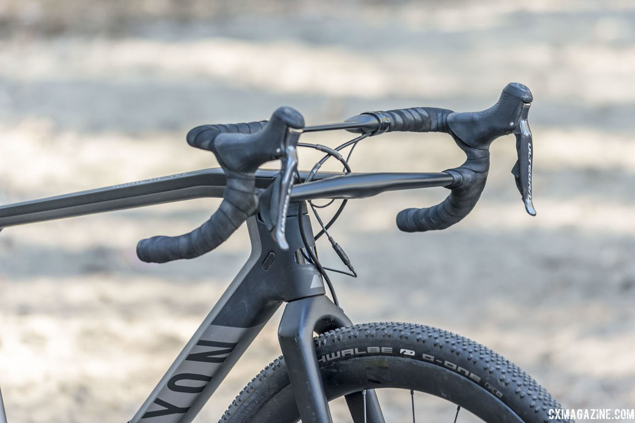 The Grail CF line features an head-turning two-tiered handlebar the company claims provides dampening on rough roads. Canyon Grail CF SLX 8.0 Gravel Bike. © C. Lee / Cyclocross Magazine
