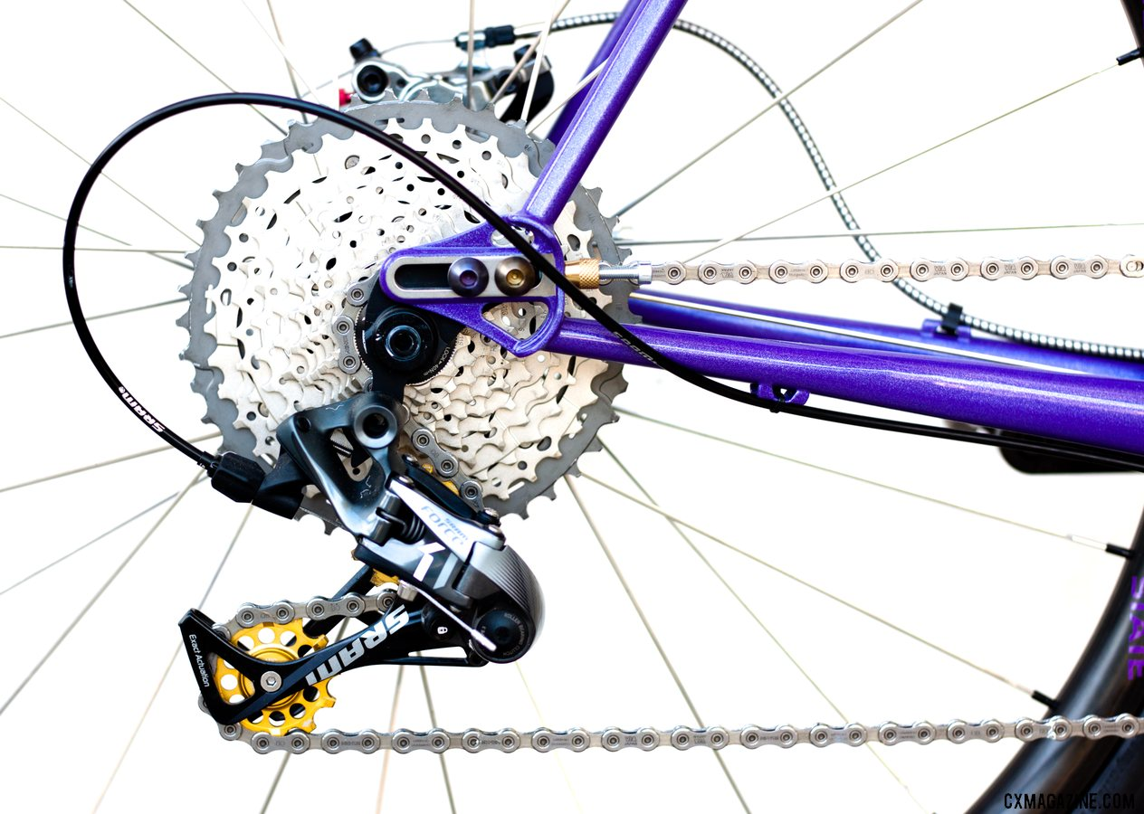 A SRAM Force 1 derailleur with Kogel bearing pulleys kept resistance and chatter low. Chumba Terlingua steel cyclocross/gravel bike. © A. Yee / Cyclocross Magazine