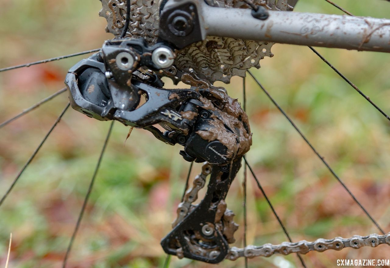 By luck of the draw, Clouse got a Shimano XT Di2 M8050 rear derailleur. Katie Clouse's Moots Psychlo X RSL. 2018 Cyclocross National Championships V2. Louisville, KY. © Cyclocross Magazine