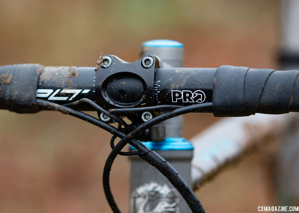 For her handlebar, Clouse used a alloy Pro PLT, which is a change from the Pro Vibe carbon model we frequently see riders use. Katie Clouse's Moots Psychlo X RSL. 2018 Cyclocross National Championships V2. Louisville, KY. © Cyclocross Magazine