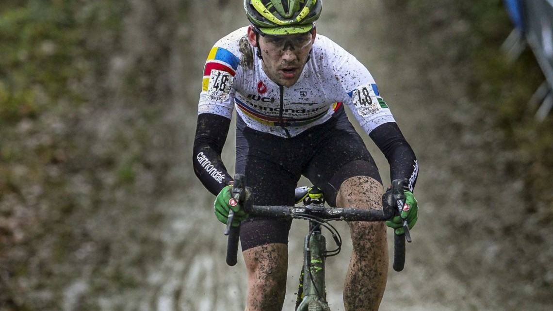 Curtis White powers through the mud. 2019 GP Sven Nys, Baal. © B. Hazen / Cyclocross Magazine