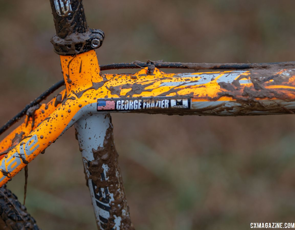 Frazier's older SuperX featured externally routed brake hoses. George Frazier's Junior Men 11-12 winning bike. 2018 Cyclocross National Championships V2. Louisville, KY. © Cyclocross Magazine