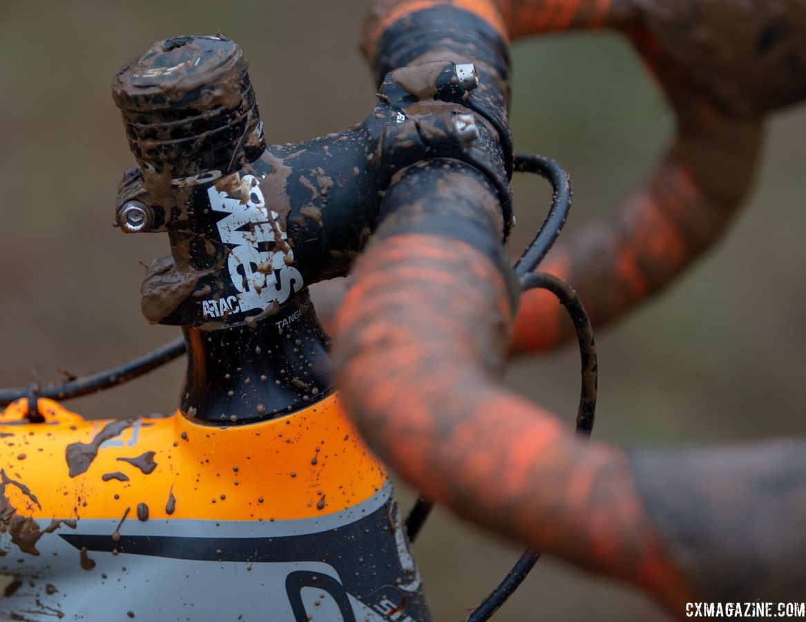 In order to fit such a small rider, Frazier used an alloy stem without much reach. George Frazier's Junior Men 11-12 winning bike. 2018 Cyclocross National Championships V2. Louisville, KY. © Cyclocross Magazine