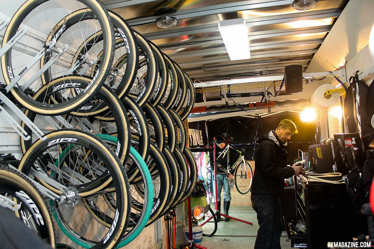 Stu Thorne and his team have spent less time building up bikes this year. © A. Yee / Cyclocross Magazine