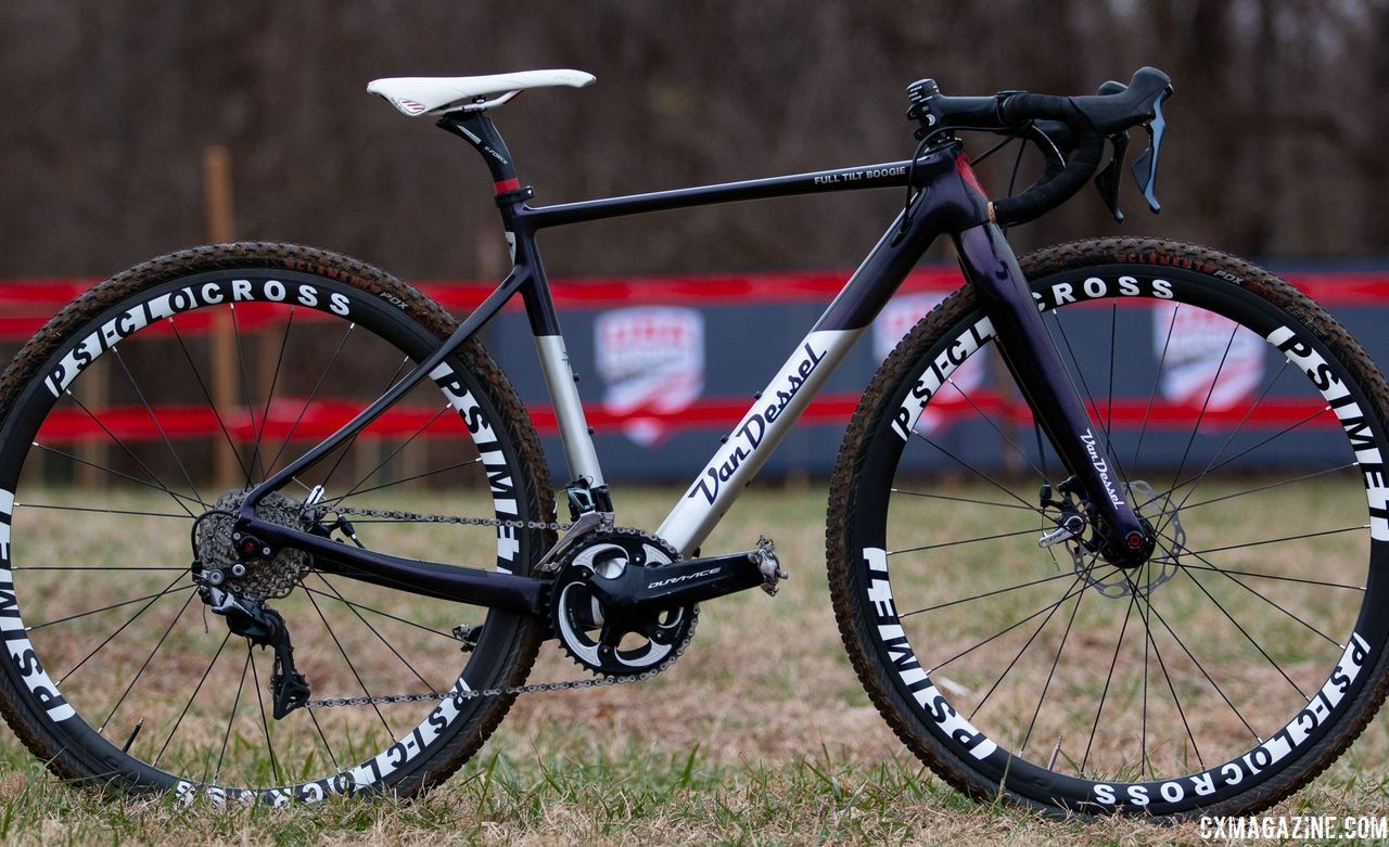 The Full Tilt Boogie features replaceable dropouts to allow users to adapt the frame to thru axle and quick release wheels. Laura Van Gilder's Van Dessel Full Tilt Boogie. 2018 Cyclocross National Championships, Louisville, KY. © A. Yee / Cyclocross Magazine
