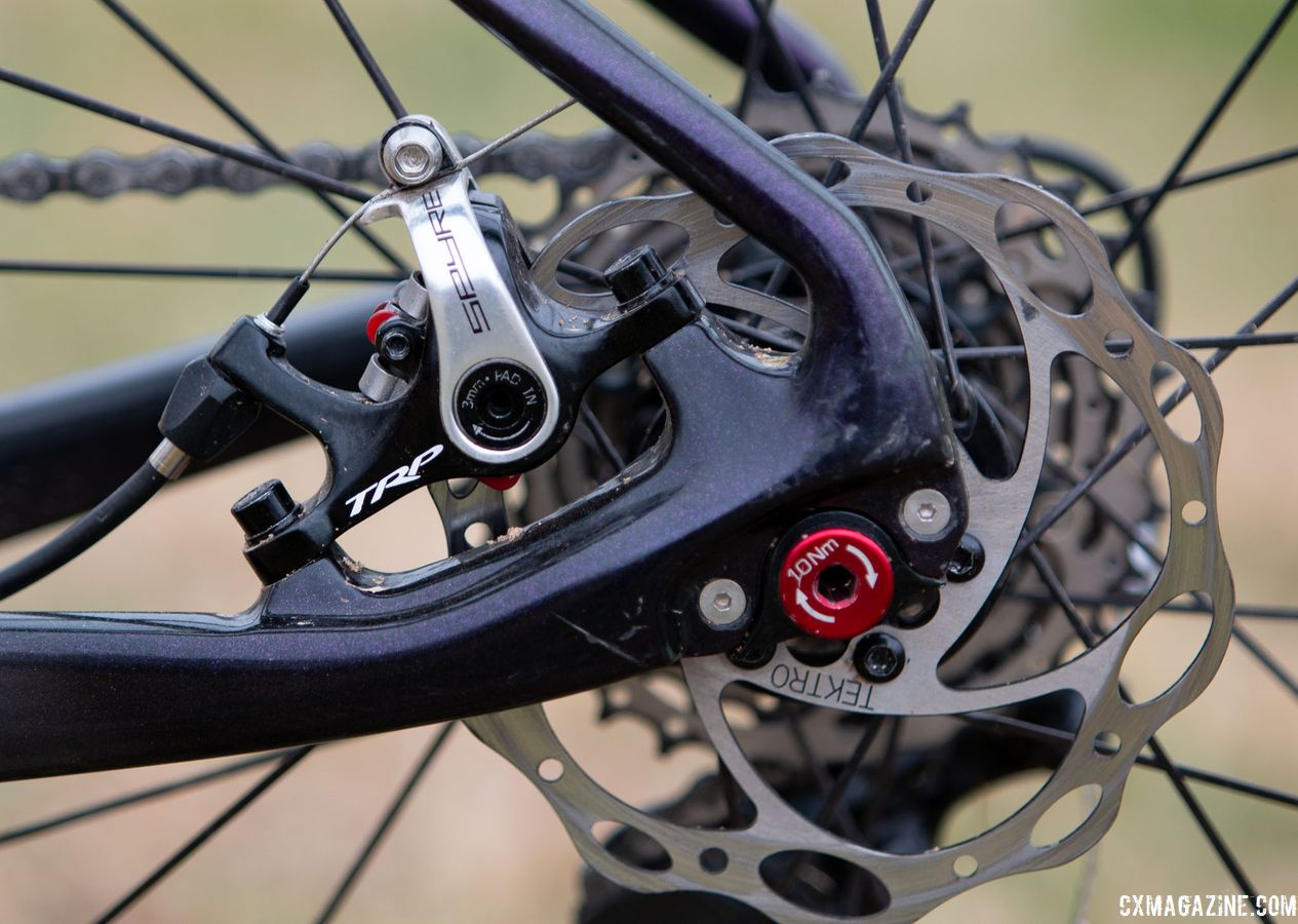 TRP's cable-actuated Spyre brakes are a rare sight in such a high-level race. Van Gilder proved it's not what you ride, it's how you ride. Laura Van Gilder's Van Dessel Full Tilt Boogie. 2018 Cyclocross National Championships, Louisville, KY. © A. Yee / Cyclocross Magazine