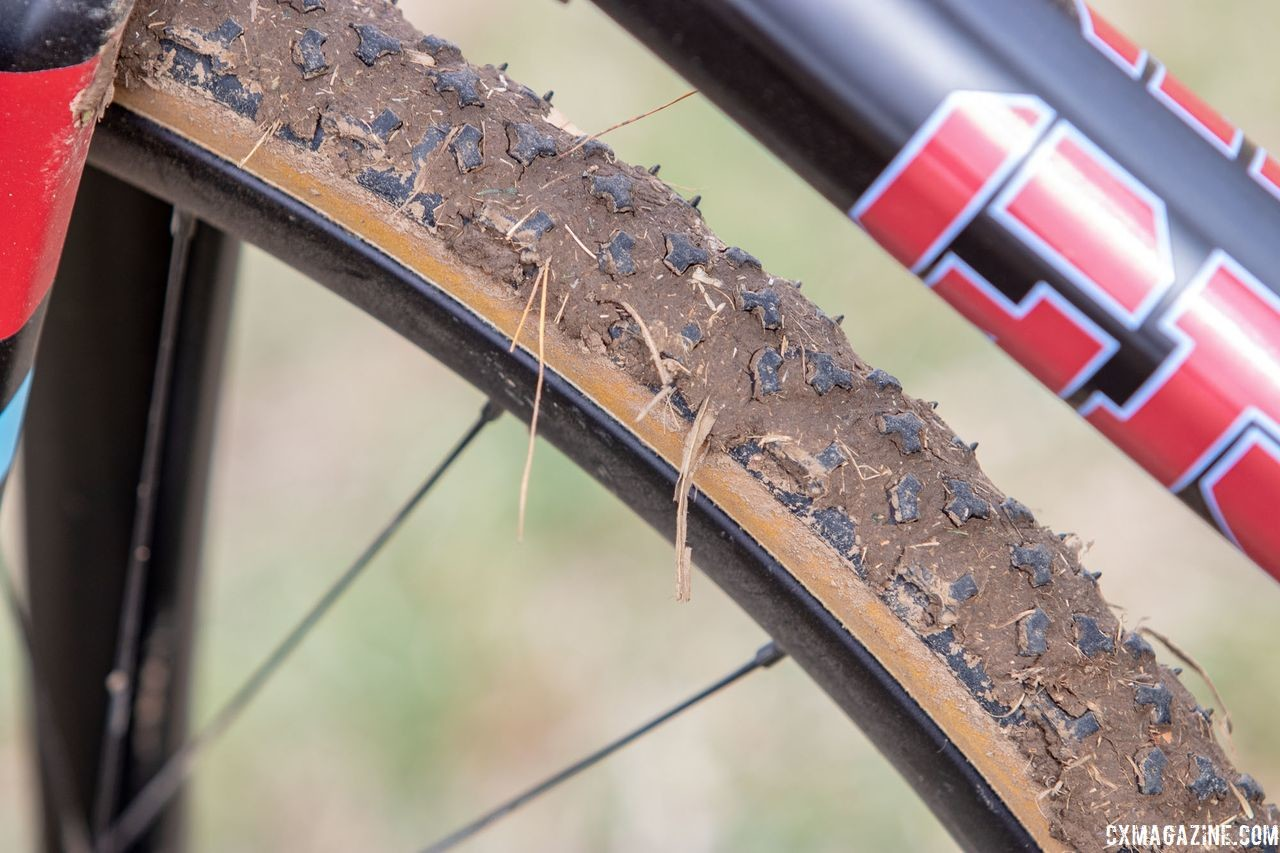 Challenge Limus tubulars were the choice with some mud covering the course on Wednesday of Nationals week. Paul McKeithan's Masters 75-79 title-winning Grava Maple Sally cyclocross bike. 2018 Cyclocross National Championships, Louisville, KY. © A. Yee / Cyclocross Magazine