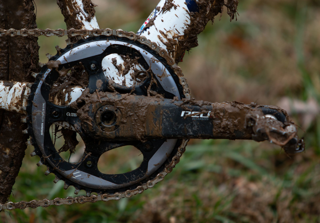 Hyde runs a SRAM Force 1 drivetrain. He had a 44t X-Sync chain ring mounted to a Red DZero crankset at Nationals. Stephen Hyde's title-winning Cannondale. 2018 Cyclocross National Championships V2. Louisville, KY. © Cyclocross Magazine