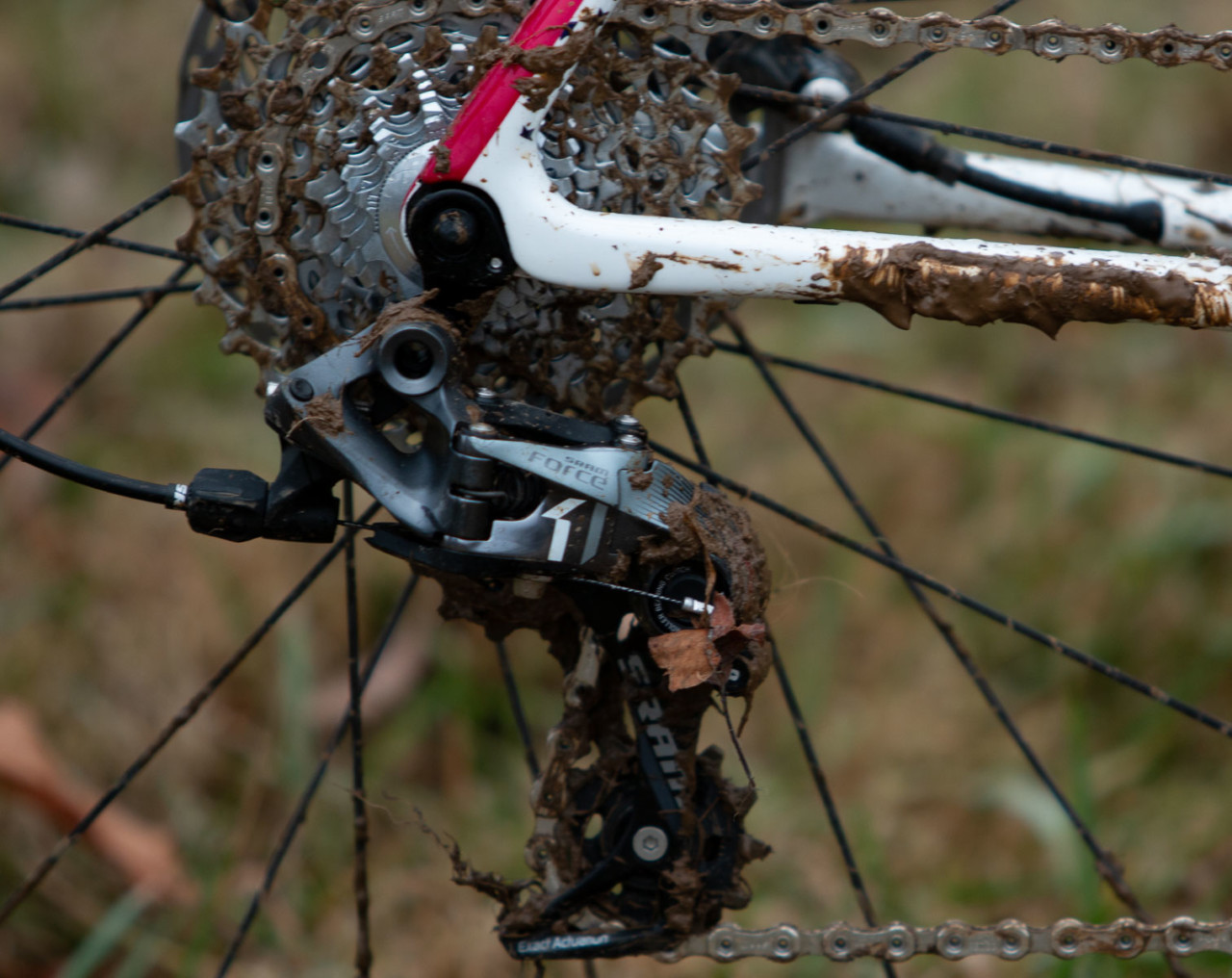 Hyde's derailleur hanger survived intact. Stephen Hyde's title-winning Cannondale. 2018 Cyclocross National Championships V2. Louisville, KY. © Cyclocross Magazine