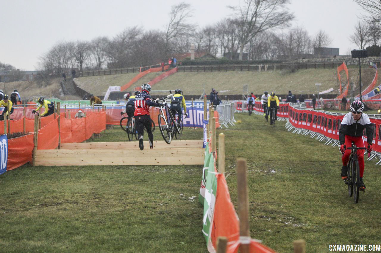 The barriers were looking plain on Thursday. 2019 Bogense World Championships Course Preview. © Z. Schuster / Cyclocross Magazine