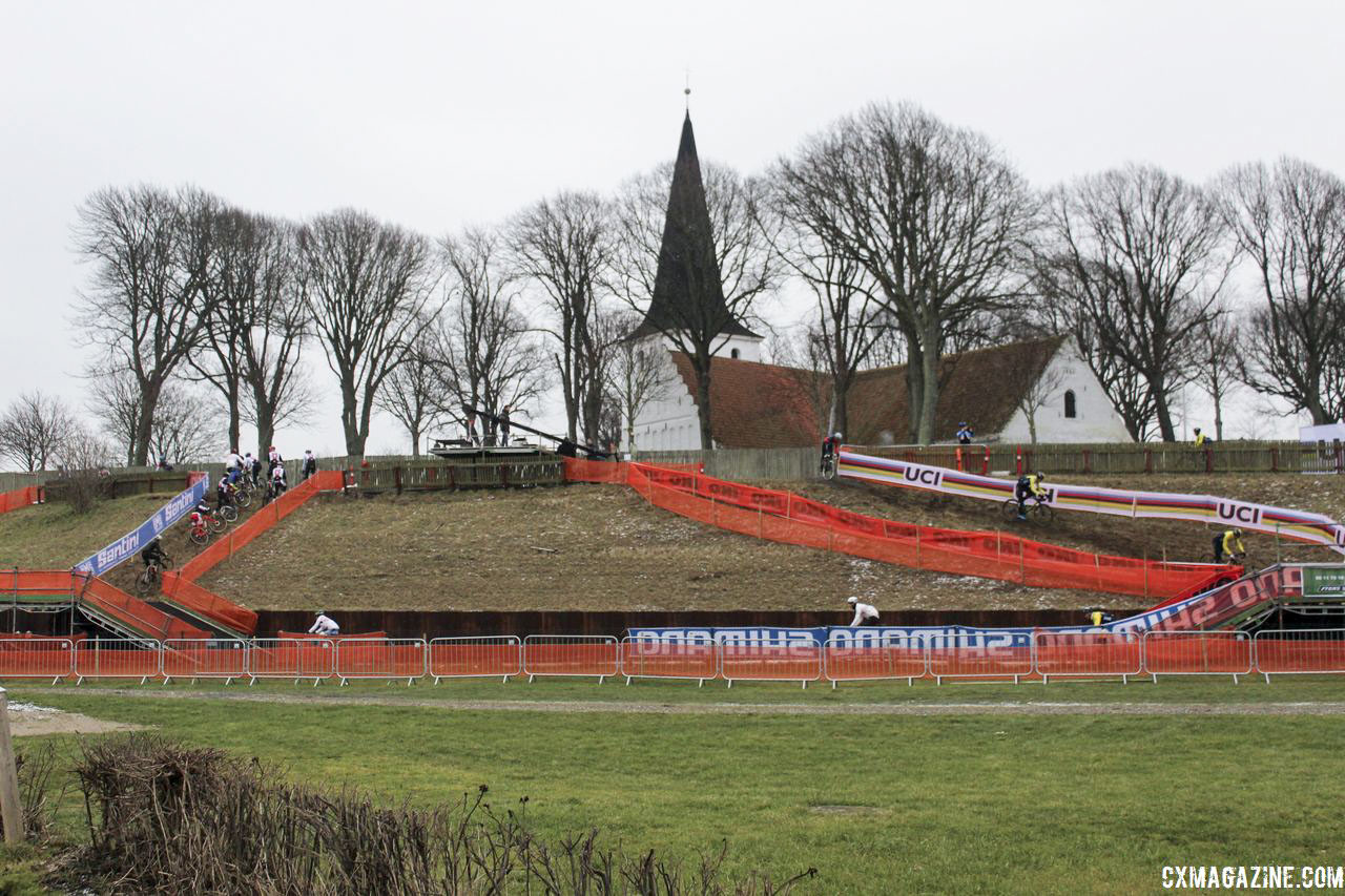 A descent into a flyover and then a flyover to a hill is not something we see everyday. 2019 Bogense World Championships Course Preview. © Z. Schuster / Cyclocross Magazine