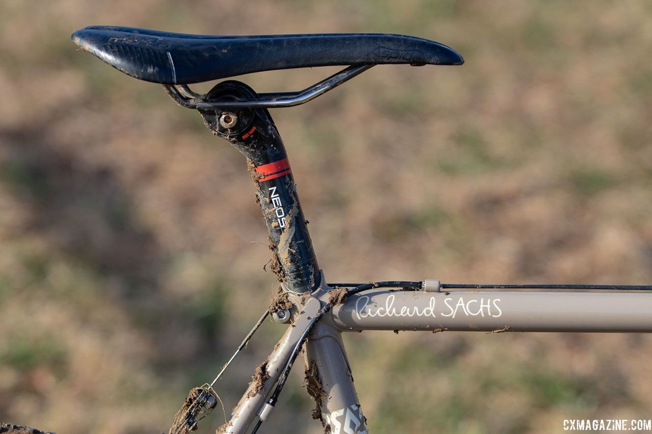 Sachs famously builds bikes to fit a setback seatpost. Dan Chabanov's Richard Sachs cyclocross bike. 2018 Cyclocross National Championships, Louisville, KY. © A. Yee / Cyclocross Magazine