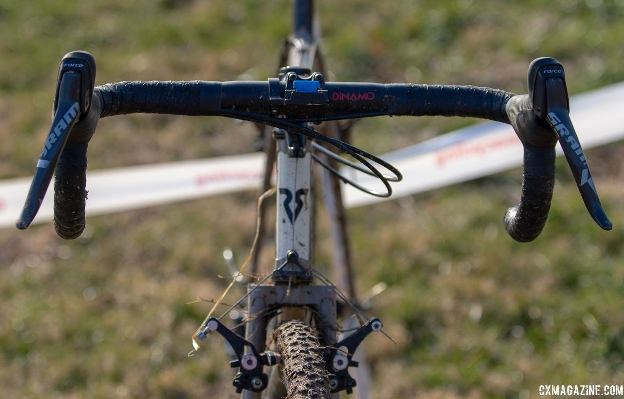 Chabanov's bike features a spacer mounted cable hanger for the front brake. Dan Chabanov's Richard Sachs cyclocross bike. 2018 Cyclocross National Championships, Louisville, KY. © A. Yee / Cyclocross Magazine