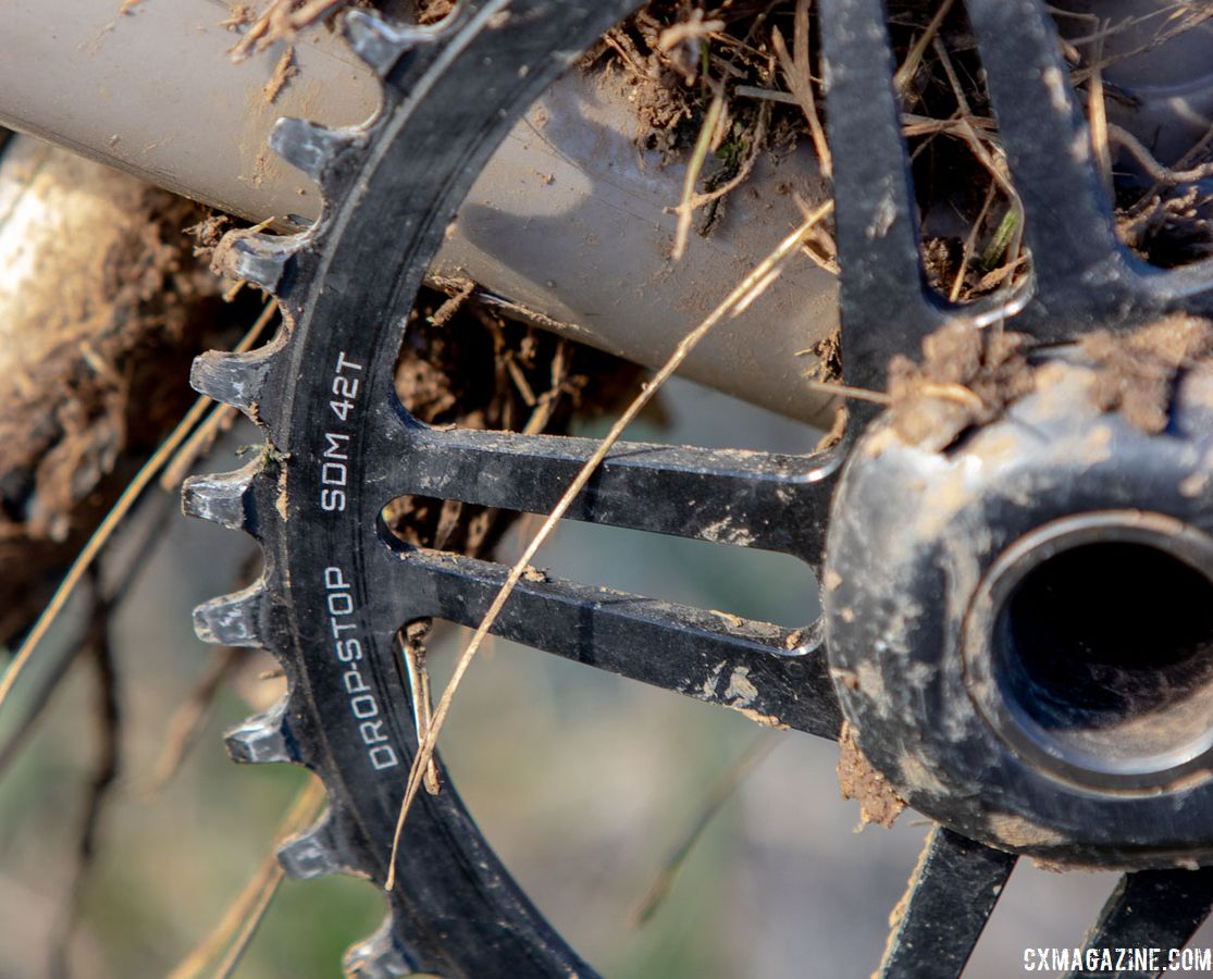 For the terrain in Joe Creason Park, Chabanov used a 42t direct mount chain ring. Dan Chabanov's Richard Sachs cyclocross bike. 2018 Cyclocross National Championships, Louisville, KY. © A. Yee / Cyclocross Magazine