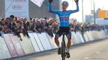 Denise Betsema wins the 2019 Telenet Superprestige Noordzeecross Middelkerke. Elite Women. © B. Hazen / Cyclocross Magazine