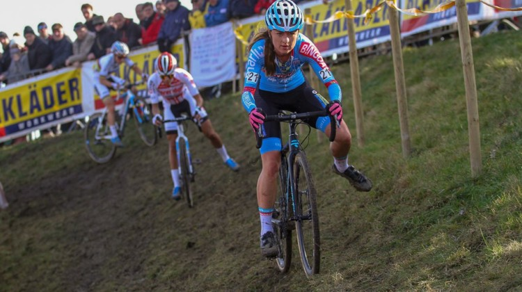 The eventual podium on the off-camber. 2019 Telenet Superprestige Noordzeecross Middelkerke. Elite Women. © B. Hazen / Cyclocross Magazine