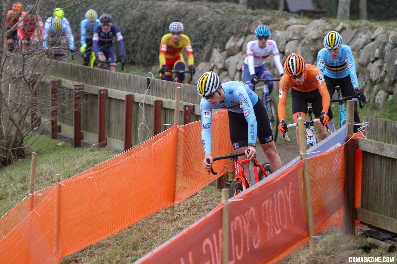Cortjens leads the group on the first lap. Junior Men, 2019 Cyclocross World Championships, Bogense, Denmark. © B. Hazen / Cyclocross Magazine