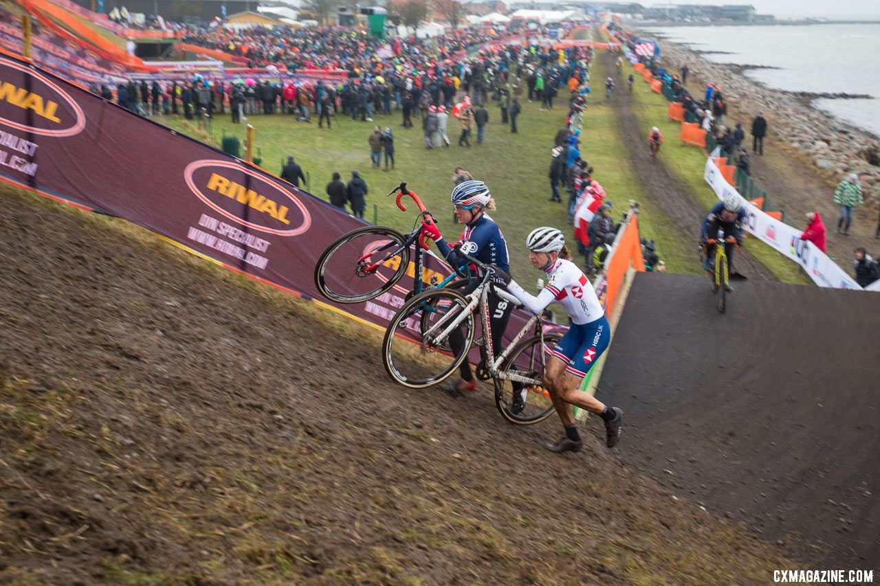 Wyman and Noble make their way up one of the many steep embankments. Elite Women, 2019 Cyclocross World Championships, Bogense, Denmark. © K. Keeler / Cyclocross Magazine