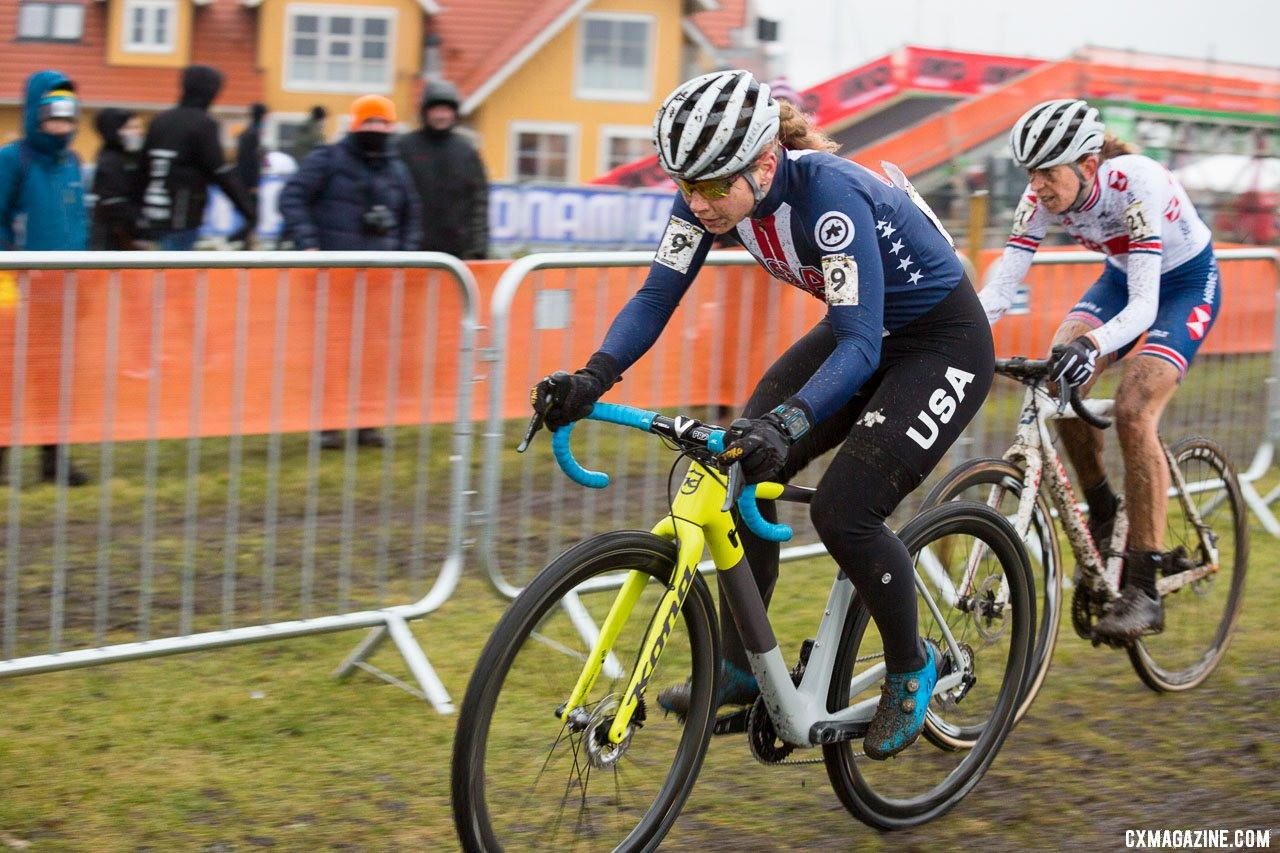 Rebecca Fahringer led Helen Wyman and finished in 16th. Elite Women, 2019 Cyclocross World Championships, Bogense, Denmark. © K. Keeler / Cyclocross Magazine