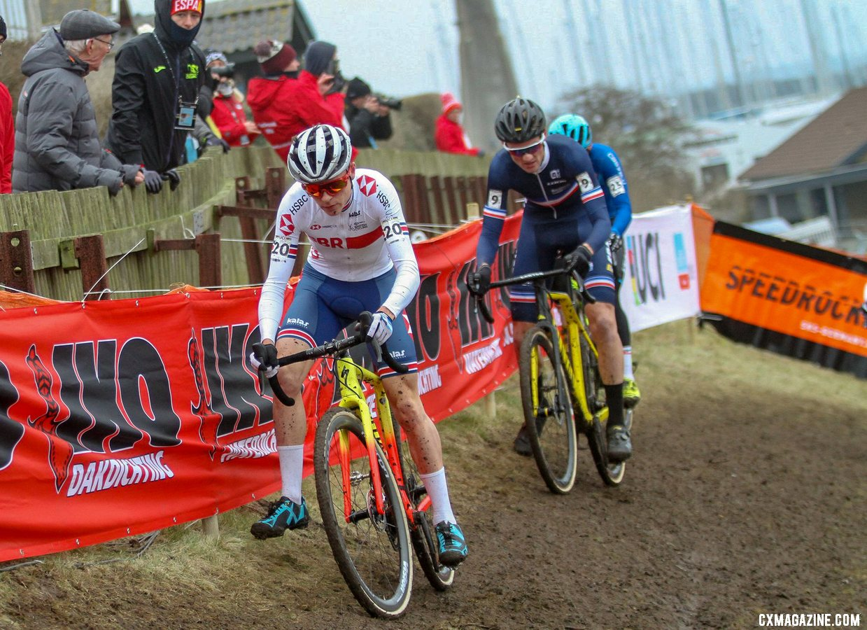 Pidcock chase Iserbyt, before pouncing. U23 Men, 2019 Cyclocross World Championships, Bogense, Denmark. © Cyclocross Magazine