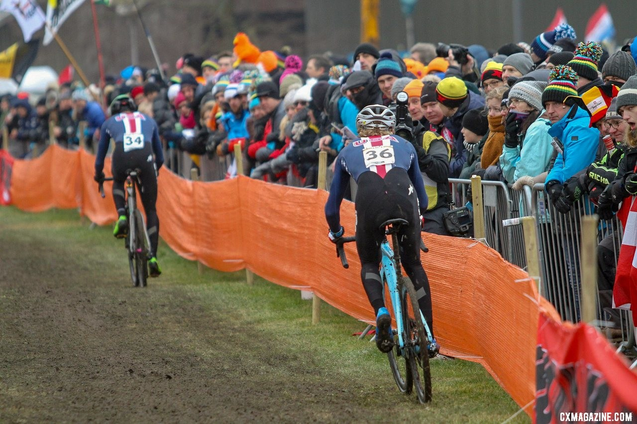In the early laps, Lance Haidet rode with Gage Hecht near the front of the race. U23 Men, 2019 Cyclocross World Championships, Bogense, Denmark. © Cyclocross Magazine