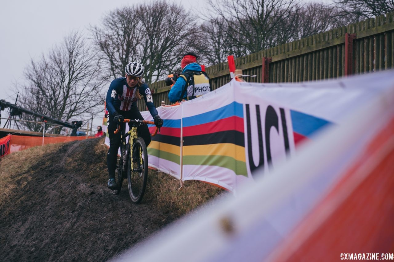 Rebecca Fahringer had a strong afternoon, finishing in the top 10. 2019 Bogense Cyclocross World Championships, Denmark. © Patrick Means / Cyclocross Magazine