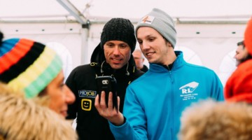 Sven Nys talks to and takes selfies with fans in one of the venue's party tents. 2019 Cyclocross World Championships, Bogense, Denmark. © Taylor Kruse / Cyclocross Magazine