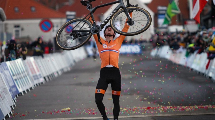 Mathieu van der Poel is the king again. Elite Men, 2019 Cyclocross World Championships, Bogense, Denmark. © B. Hazen / Cyclocross Magazine