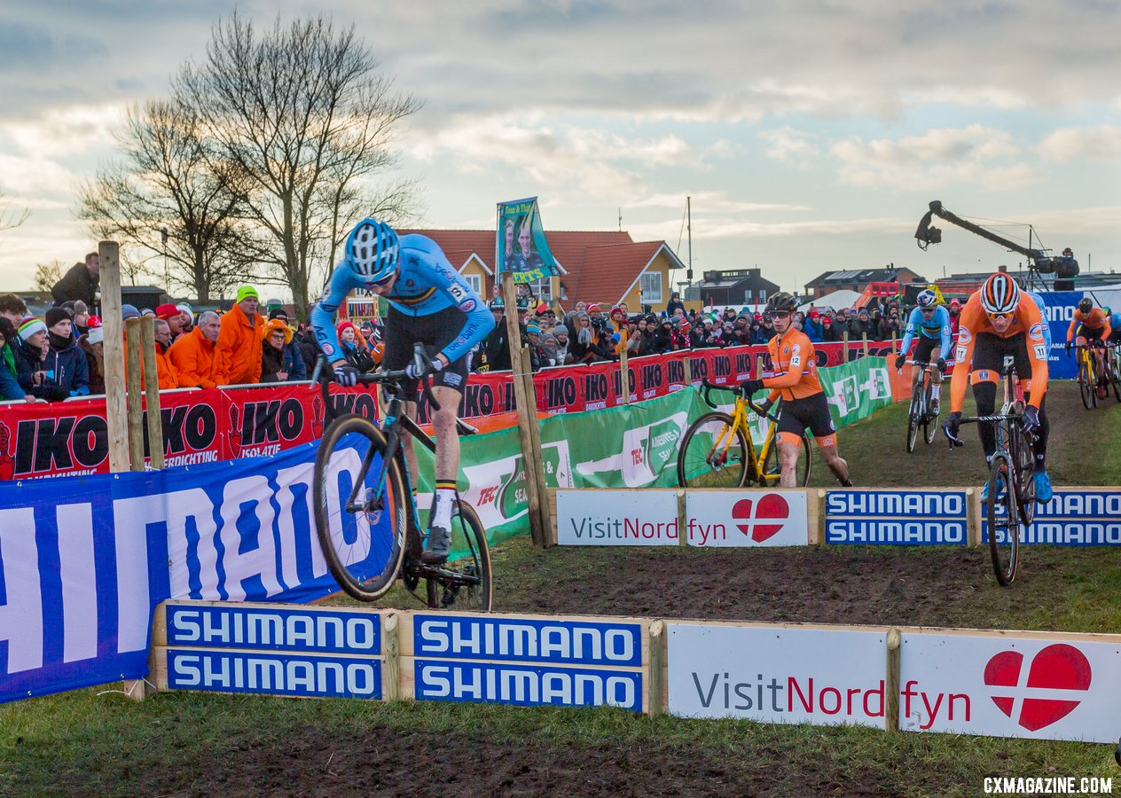 Michael Vanthourenhout leads at the barriers. Elite Men. 2019 Cyclocross World Championships, Bogense, Denmark. © K. Keeler / Cyclocross Magazine